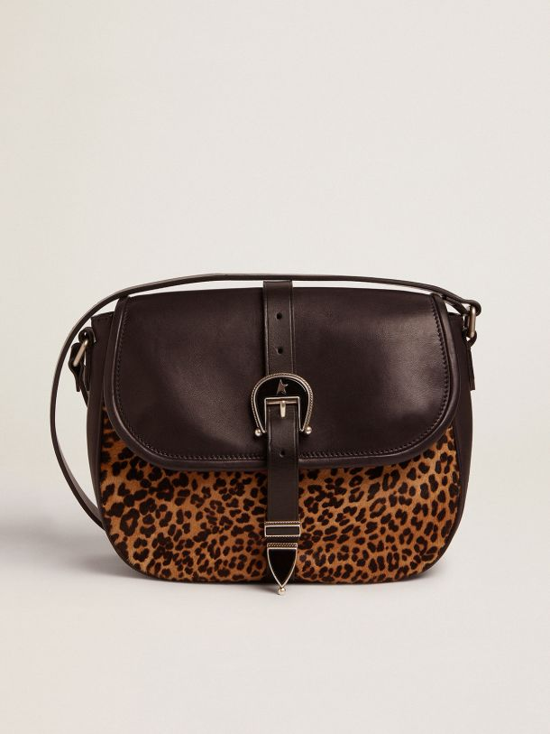 Medium Rodeo Bag in black leather and leopard-print pony skin