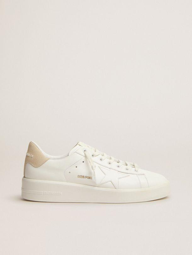 Golden Goose - Zapatillas deportivas Purestar de piel blanca con refuerzo del talón de ante color crema in