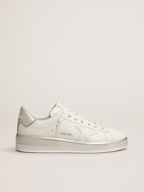 Golden Goose - Sneaker Purestar in pelle bianca con talloncino e foxing laminati color argento in