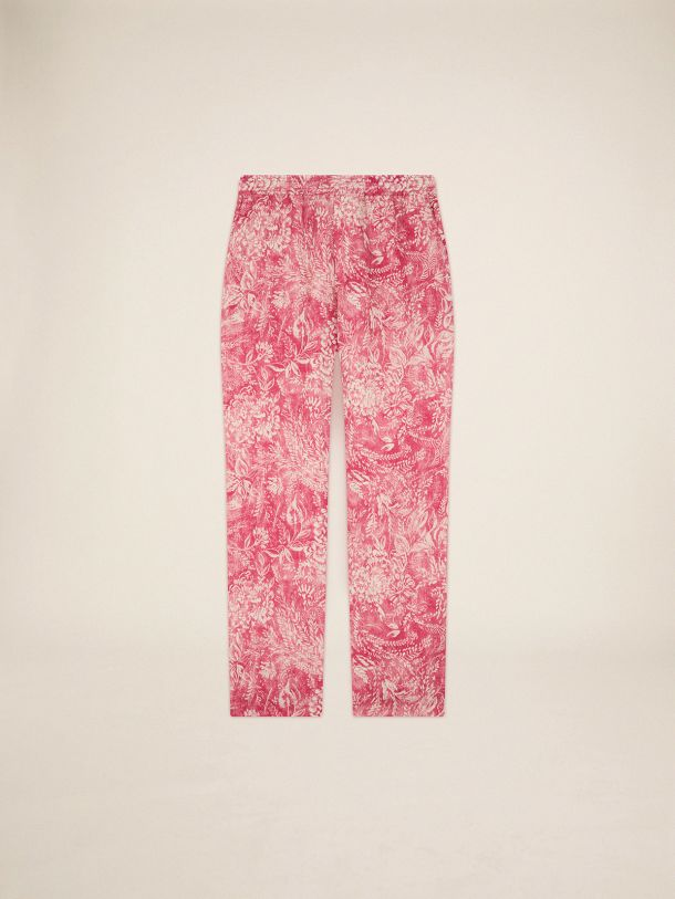 Evan Golden Resort Capsule Collection linen pants in vintage red with contrasting white toile de jouy print