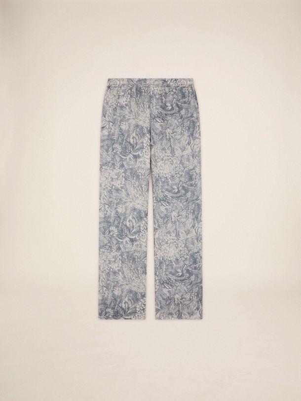 Golden Goose - Evan Golden Resort Capsule Collection linen pants in vintage blue with contrasting white toile de jouy print in
