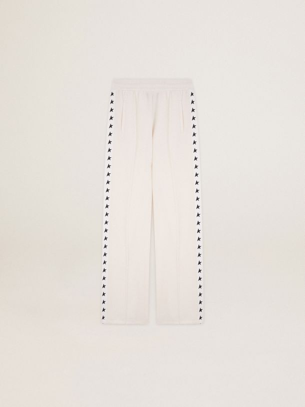 Golden Goose - Papyrus white Dorotea Star Collection jogging pants with black stars on the sides in