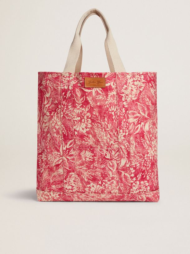 Golden Goose - Golden Resort Capsule Collection canvas Ocean bag in vintage red with contrasting white toile de jouy print in
