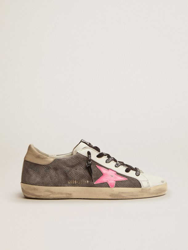 Golden Goose - Super-Star LTD sneakers with snake-print suede upper and gold laminated leather heel tab in