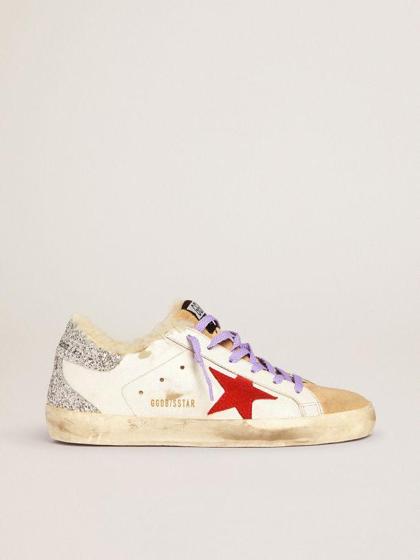 Golden Goose - Zapatillas deportivas Super-Star con forro de shearling y estrella de ante rojo in