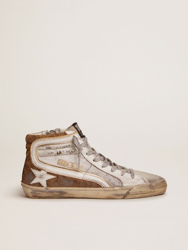 Golden Goose - Slide sneakers in crackle leather and leopard-print suede in