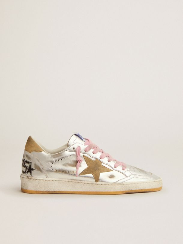 Golden Goose - Ball Star LTD sneakers in silver laminated leather with sand-colored suede details in
