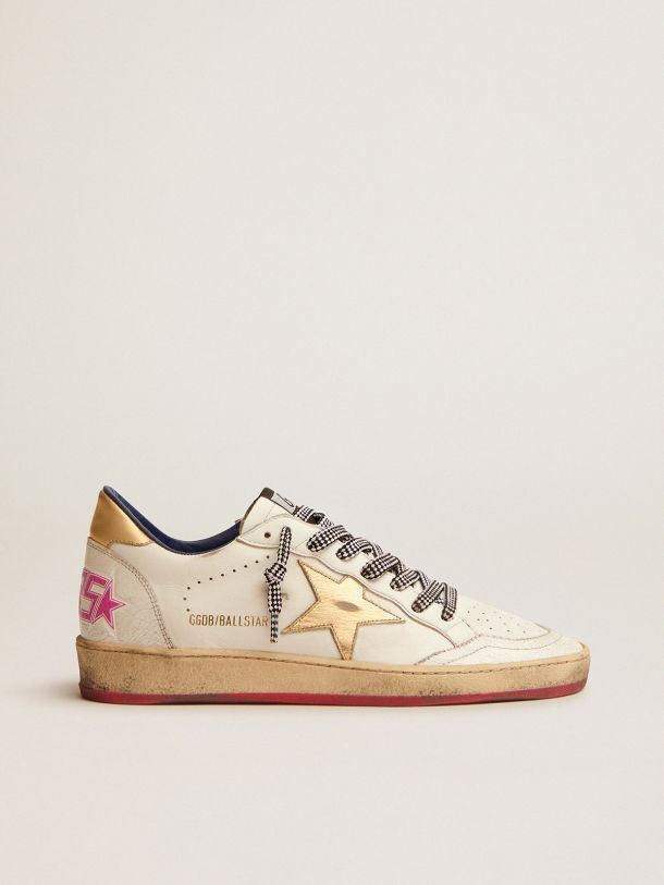 Golden Goose - Ball Star LTD sneakers in white leather with gold laminated leather inserts in