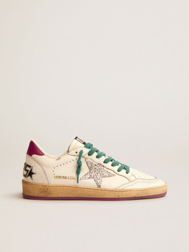 Golden Goose - Ball Star LTD sneakers in white leather with purple leather heel tab and silver glitter star in