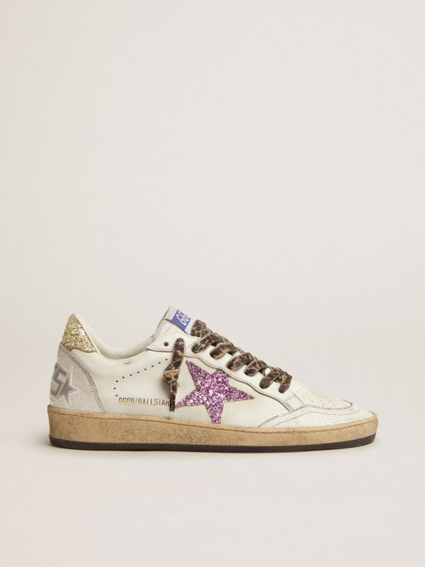 Golden Goose - Ball Star LTD sneakers in white leather with colored glitter heel tab and star in