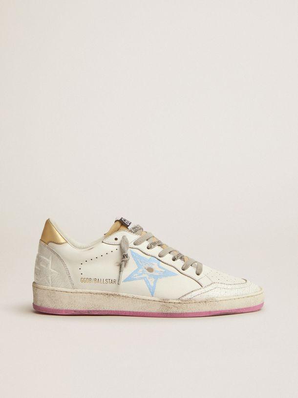 Golden Goose - Sneakers Ball Star avec contrefort doré en cuir lamé et languette en caoutchouc mousse in