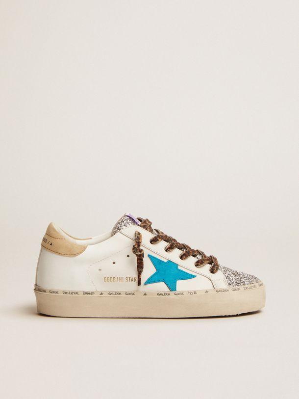 Golden Goose - Sneakers Hi Star LTD avec languette pailletée argentée et étoile en daim bleu cyan in
