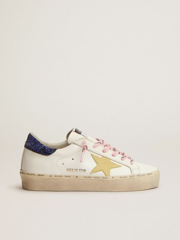 Golden Goose - Hi Star LTD sneakers with blue glitter heel tab and yellow suede star in