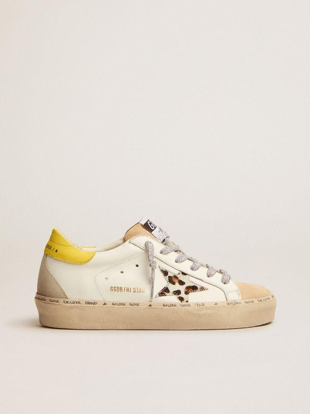 Golden Goose - Sneakers Hi Star LTD avec étoile en cuir façon poulain zébré et contrefort à paillettes argentées in