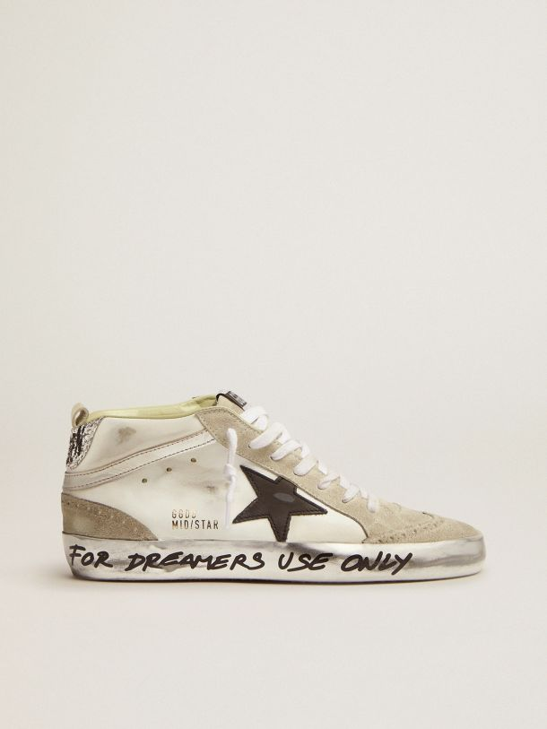 Golden Goose - Mid Star LTD sneakers with silver glitter heel tab and handwritten lettering on the foxing in