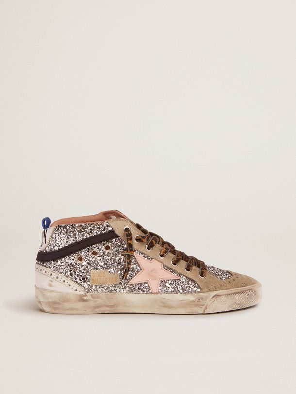 Mid Star sneakers with silver glitter upper and pale pink star