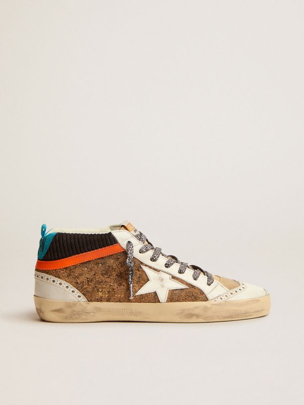 Golden Goose - Mid Star LTD sneakers with leopard-print and corduroy-print suede upper in
