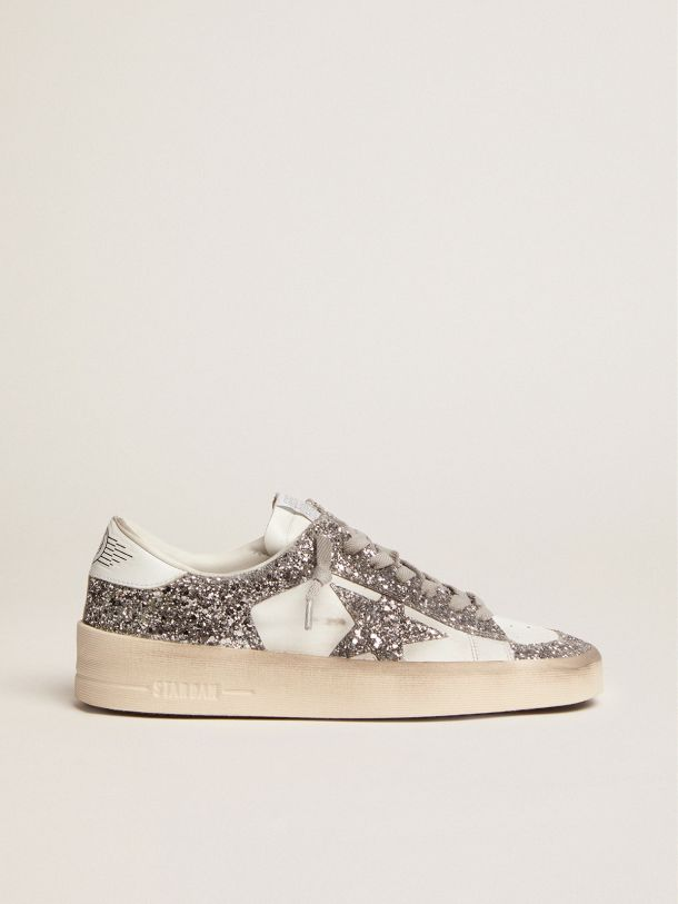 Stardan sneakers in white leather and silver glitter