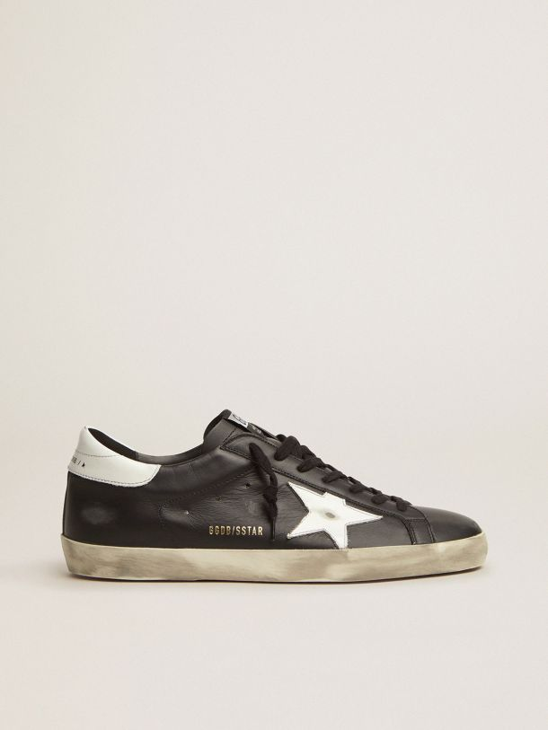 Golden Goose - Black Super-Star sneakers in leather with white star in