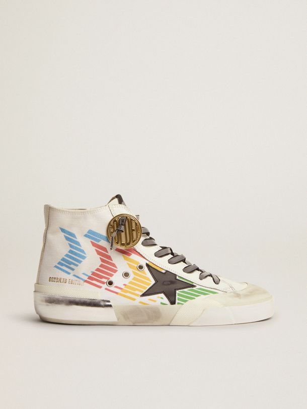 Golden Goose - Francy Game EDT Capsule Collection sneakers with white canvas upper and multicolored screen print in
