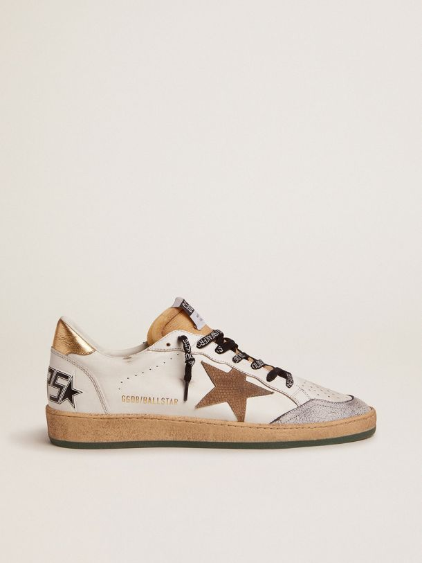 Ball Star sneakers with snake-print suede star and gold laminated leather heel tab