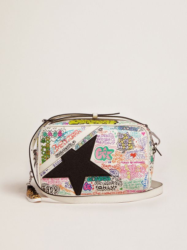 Golden Goose - Star Bag with graffiti print and black glitter star in