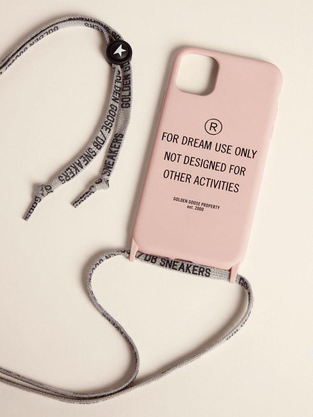 Golden Goose - Cover per iPhone 12 e 12 Pro color rosa chiaro con scritta nera a contrasto in