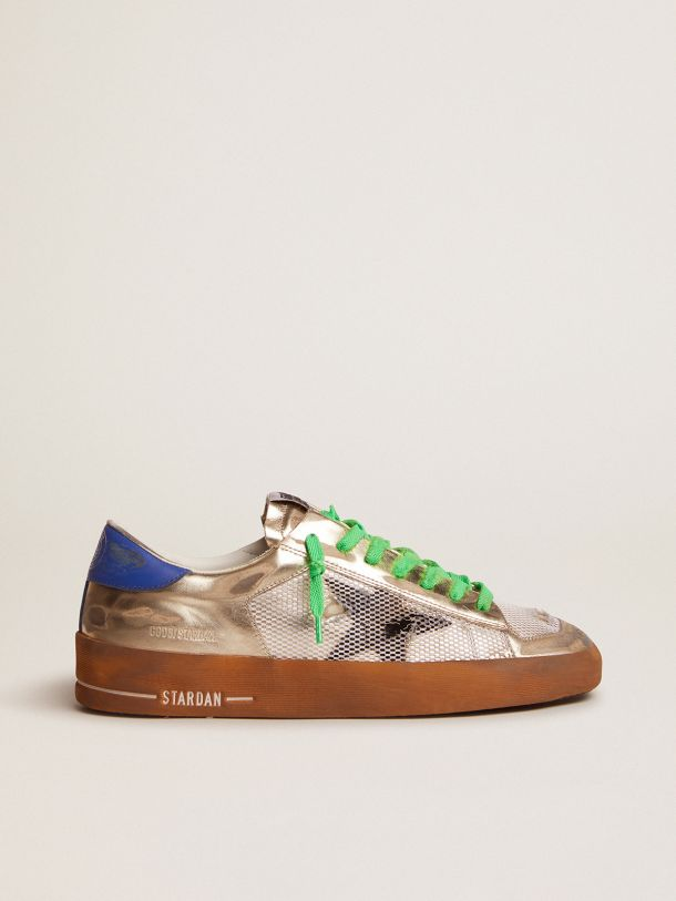 Golden Goose - Stardan LAB sneakers in laminated leather and mesh with an electric blue heel tab in