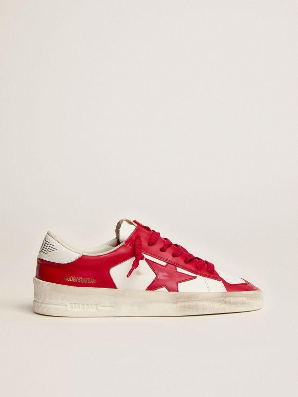 Golden Goose - Sneakers Stardan en cuir blanc et rouge in