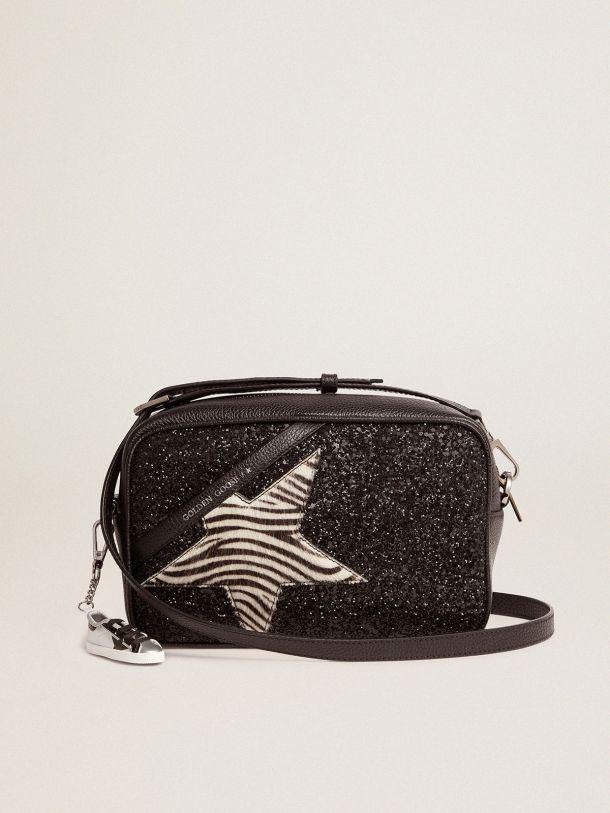 Golden Goose - Bolso Star Bag con purpurina negra y estrella de piel efecto potro con estampado de cebra in