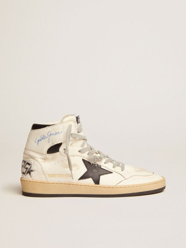 Golden Goose - Sky-Star sneakers with signature on the ankle and black leather inserts in