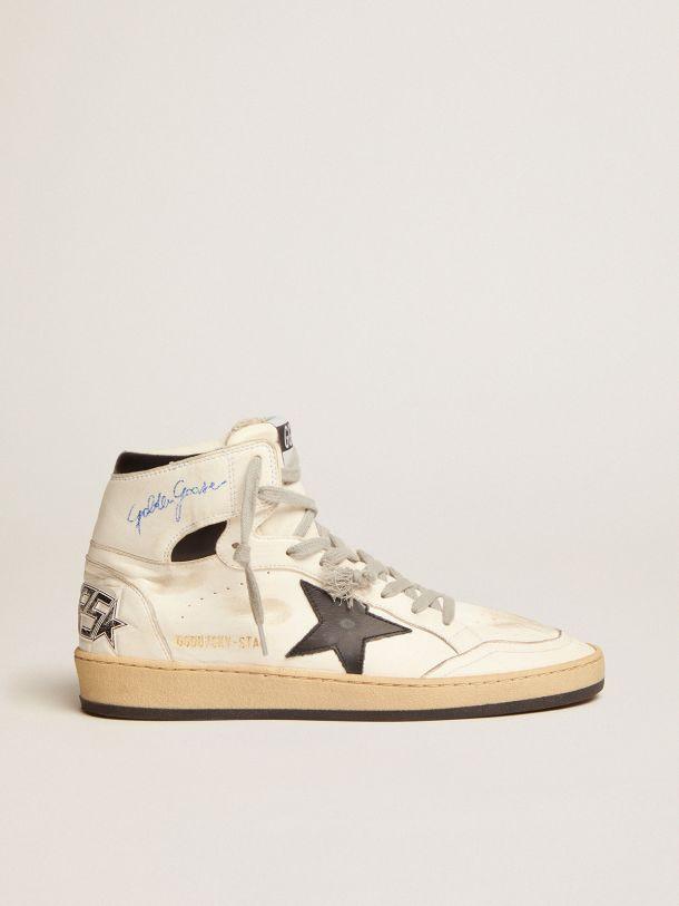 Golden Goose - Sneaker Sky-Star con firma sulla caviglia e inserti in pelle nera in
