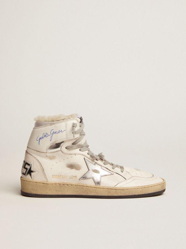 Golden Goose - Sneaker Sky-Star con firma sulla caviglia e fodera in shearling in