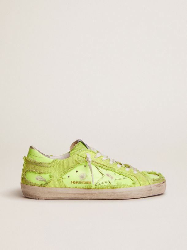 Super-Star LAB sneakers in fluorescent yellow leather and canvas