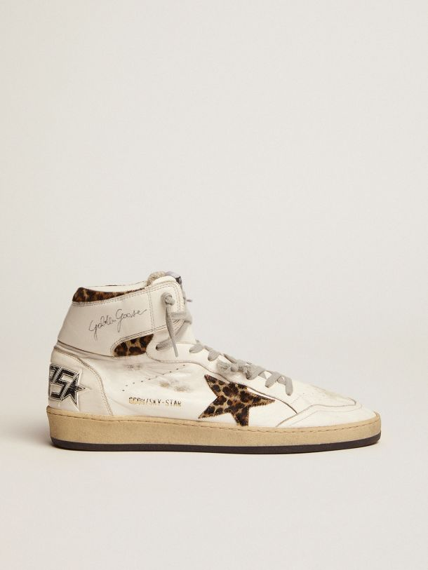 Sky-Star sneakers with signature on the ankle and leopard-print pony skin inserts