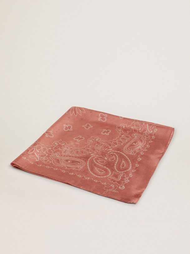Golden Goose - Old-rose-colored Golden Collection scarf with paisley pattern in