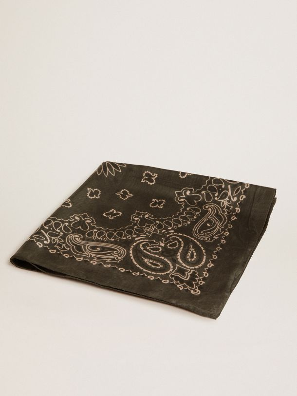 Golden Goose - Moss-green-colored Golden Collection scarf with paisley pattern in