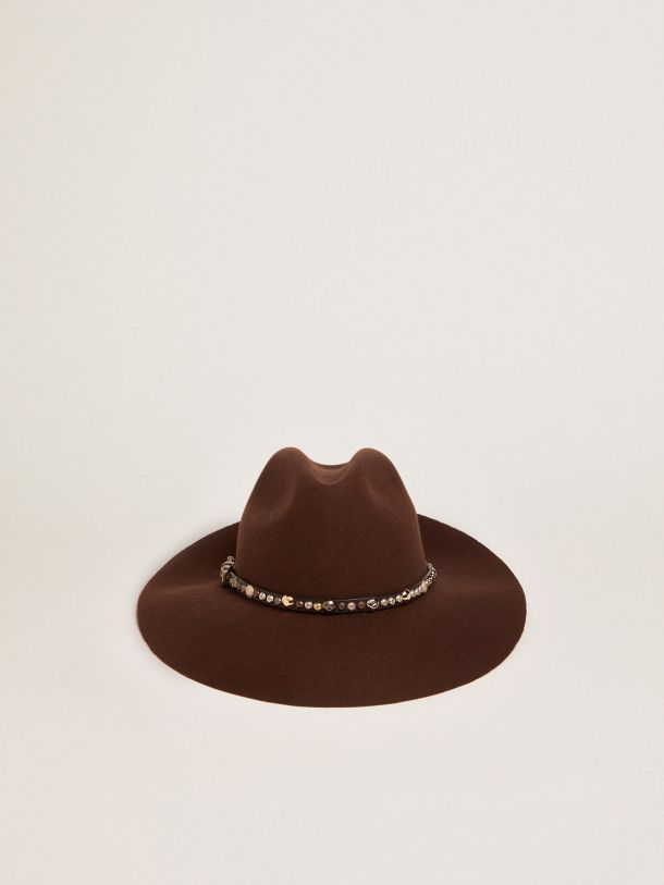 Golden Goose - Coffee-brown Golden Collection Fedora hat with studded leather strap in