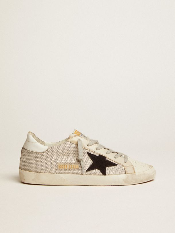 Golden Goose - Sneakers Super-Star en cuir avec empiècement en mesh in