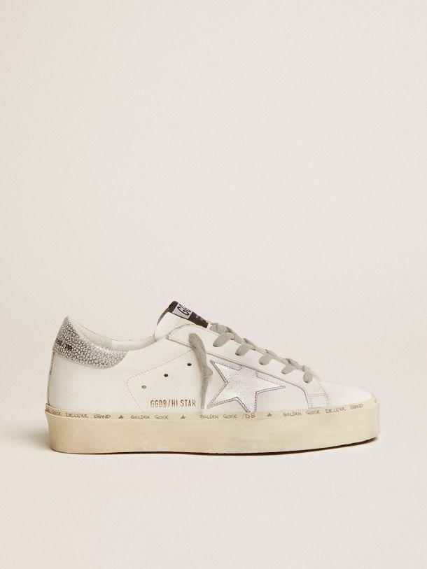 Golden Goose - Sneakers Hi-Star avec étoile et talon en argent métallisé in