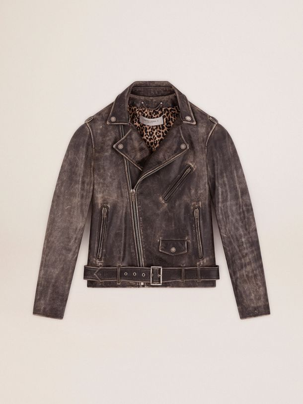 Golden Goose - Chiodo in pelle Golden Collection dal trattamento distressed in