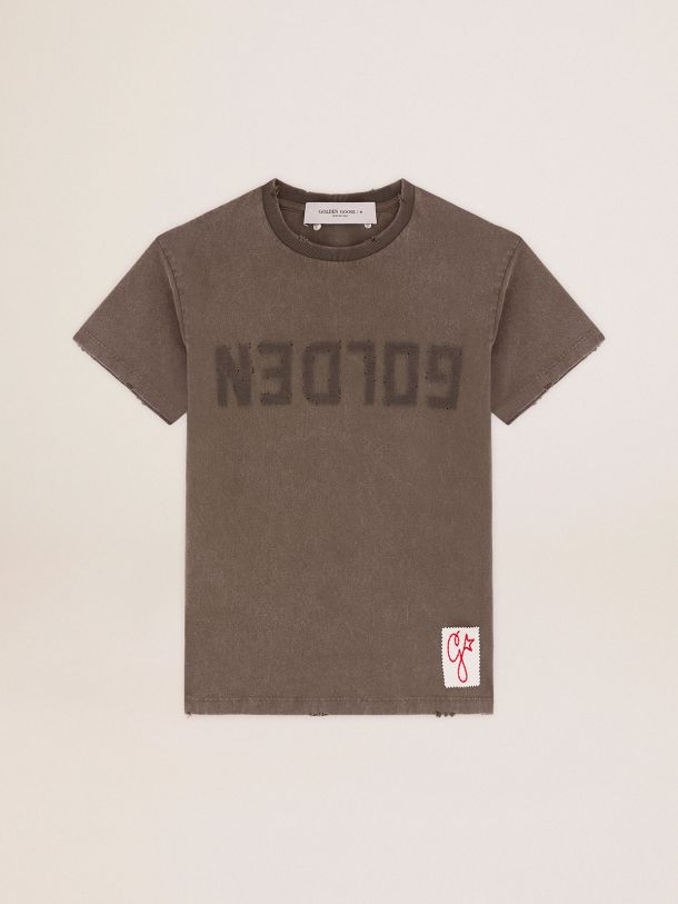 Golden Collection T-shirt in olive green with a distressed treatment