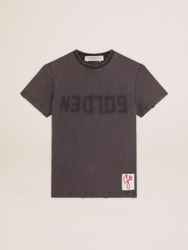 Golden Goose - Golden Collection T-shirt in anthracite gray with a distressed treatment in