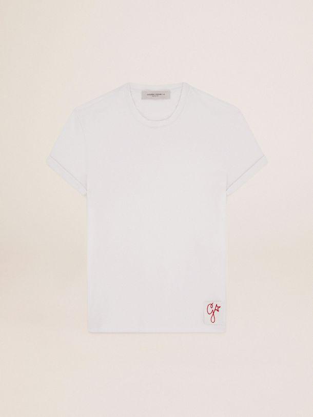 Golden Goose - 골든 컬렉션 디스트레스 트리트먼트 화이트 티셔츠 in