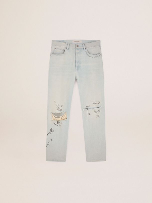 Golden Goose -  Golden Collection bleached jeans with distressed treatment in