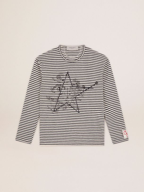 Golden Goose - Golden Collection T-shirt with white and blue stripes and embroidery on the front in