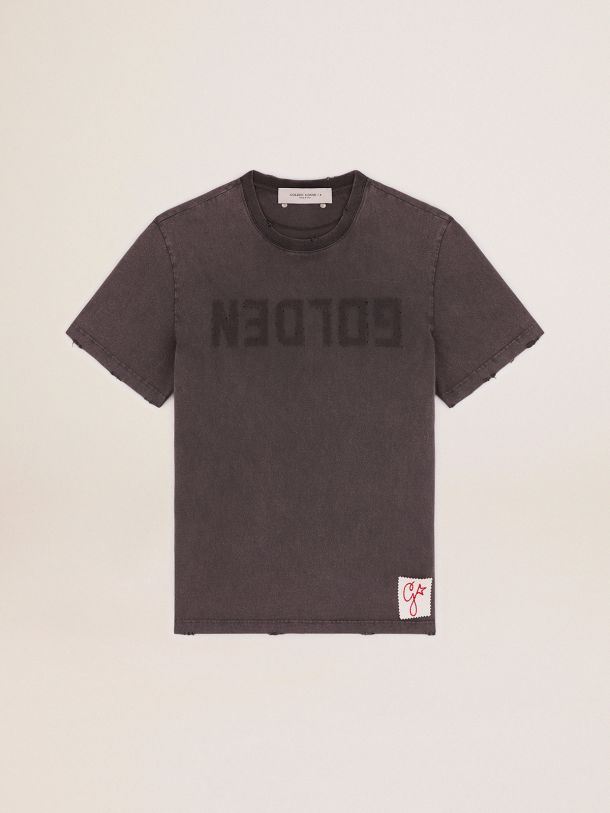 Golden Collection T-shirt in anthracite gray with a distressed treatment