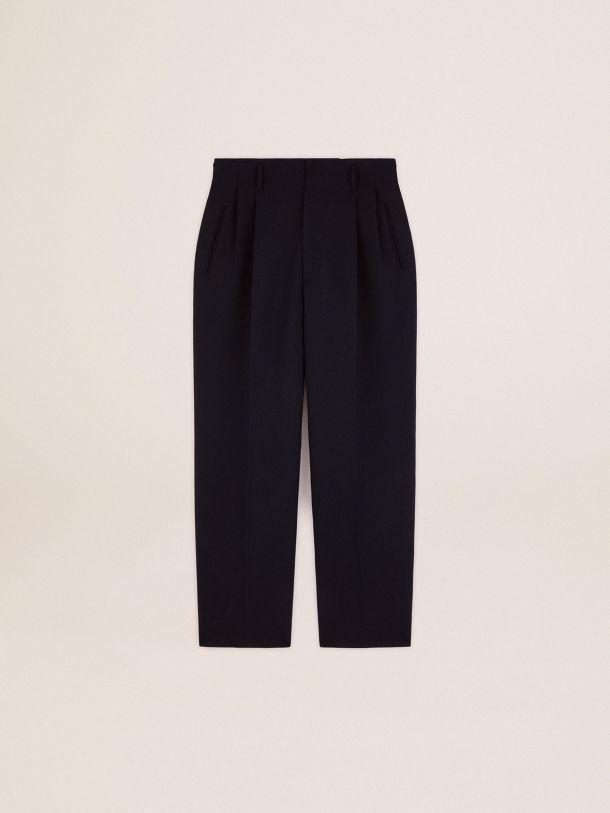 Golden Goose - Golden Collection wide leg pants in dark blue wool in