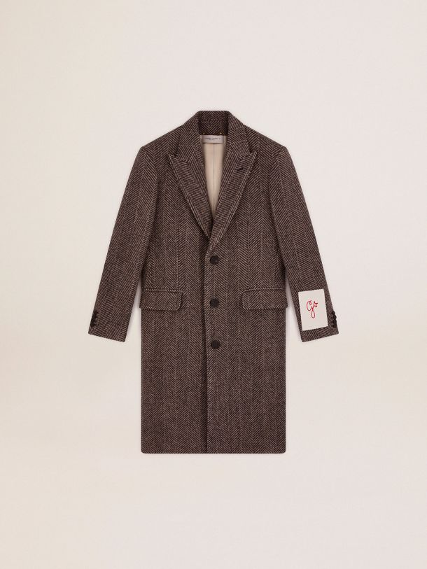Golden Collection single-breasted coat in wool with herringbone weave in beige and anthracite gray