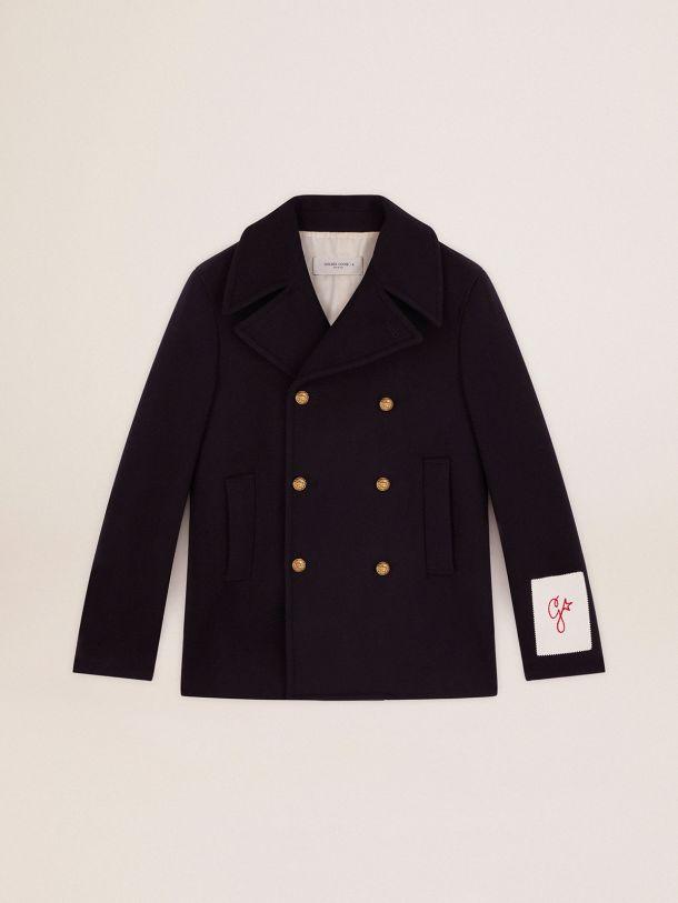 Cappotto doppiopetto corto Golden Collection in lana blu scuro e bottoni araldici dorati